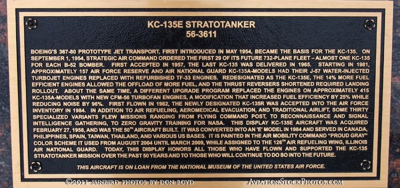 2011 - plaque for Illinois Air National Guard Boeing KC-135E Stratotanker #56-3611 at Scott Field Heritage Air Park