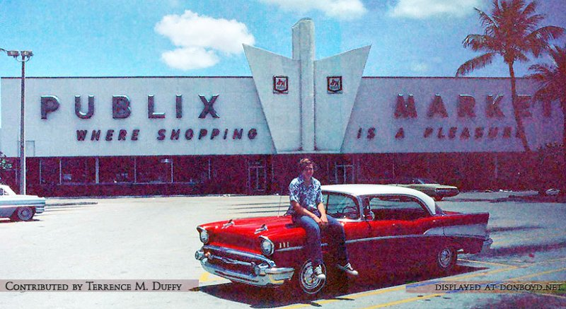 1976 - Terrence M. Duffy sitting on his 1957 Chevy in front of Publix #85 on Palm Springs Mile in Hialeah