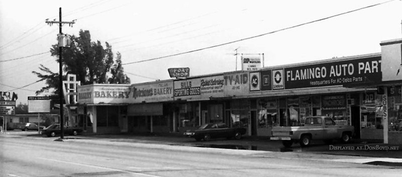 1980 - Farm Store, Dicks Pet Shop, Marcianos Bakery, Sills Sporting Goods, TV Aid, and Flamingo Auto Parts on E 4th Avenue