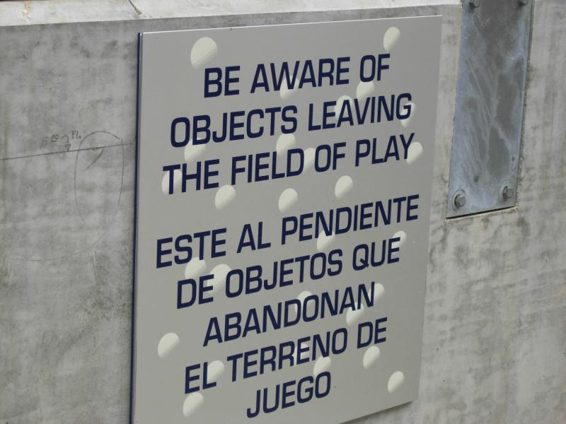 Sign in the Dugout Area to Advise Re Foul Balls