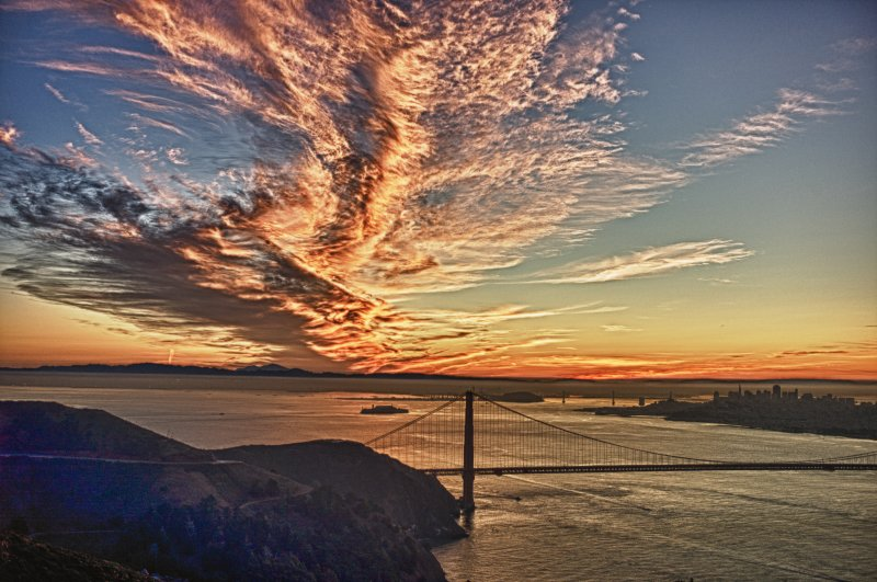 Pink and Gold Clouds over the Golden Gate Bridge