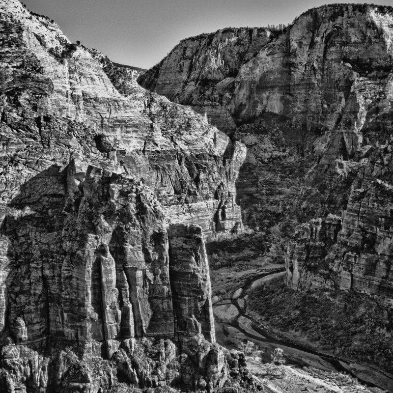 Zion Canyon in Black & White