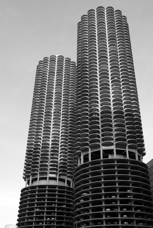 Marina Towers in Black and White