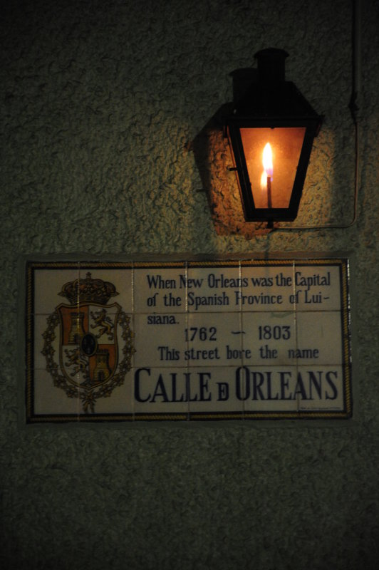 Calle de Orleans in Lamplight at Night