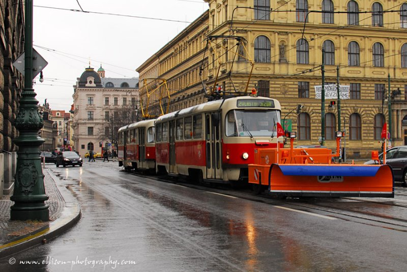 one snow flake and even the trams come out with a plough