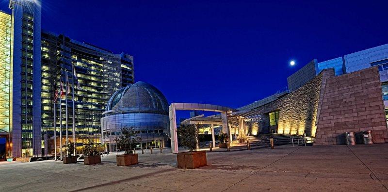 San Jose City Hall under moonlight
