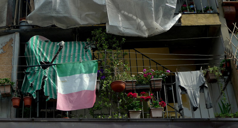 Economic contrasts ....!!!!!!! The Italian flag is a little run down........