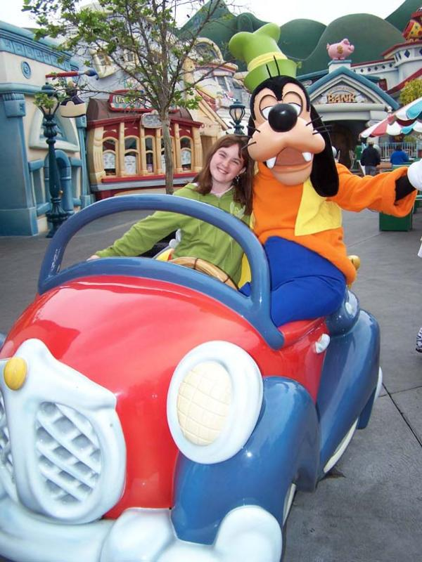 taking a ride with Goofy