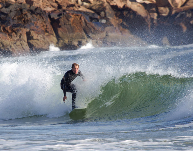 Surfing at Short Sands, York Beach, Maine