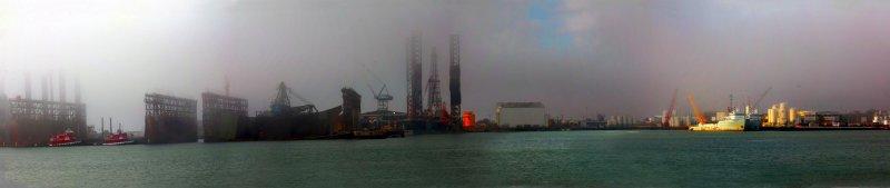 Galveston Port on a Foggy Day