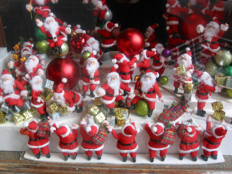 Santas at Work - Once Upon a Tart Shop Window