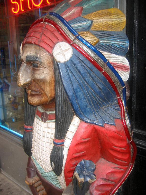 Indian Chief at a Smoke Shop