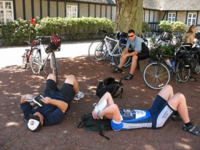 Team GIST Support takes a much needed pit stop after a long day on the bike.