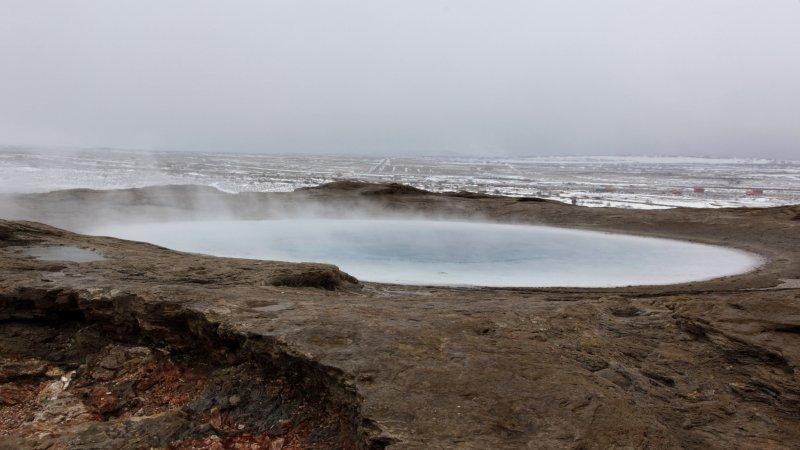 Steam from geyser