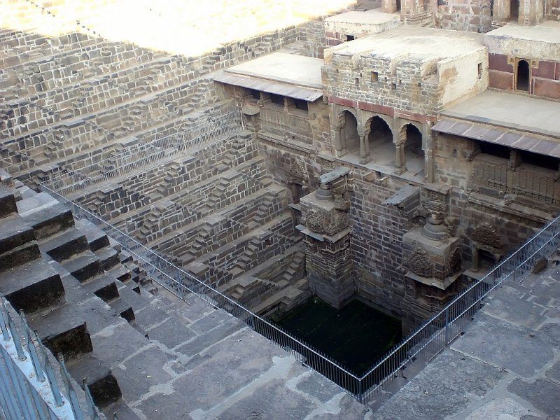 A Step Well at Chand Baori, 13 Stories Deep by About 100 on a Side, Built in the 9th Century