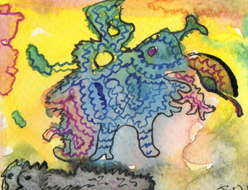 ACEO Slave Dragon watercolour pen and ink