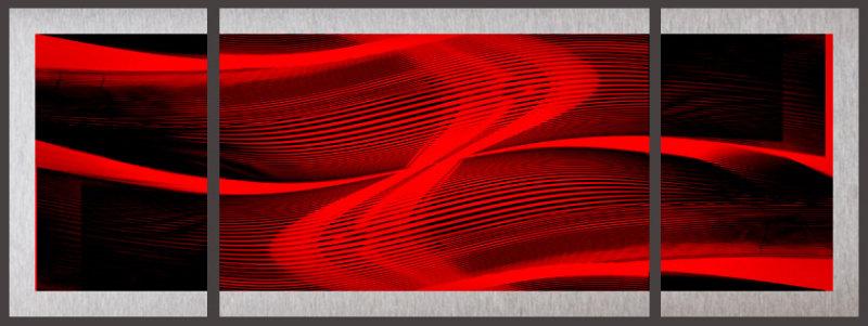 Rhythm triptych on aluminum