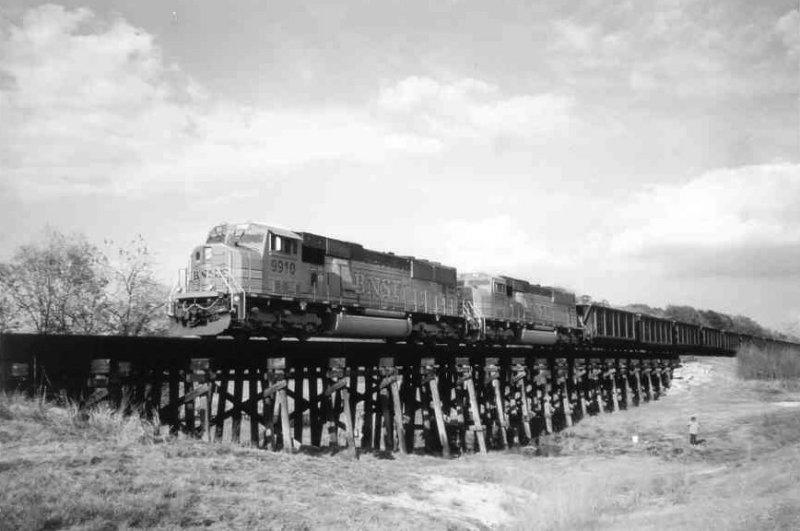 Black & White Photo of BNSF Coal Train