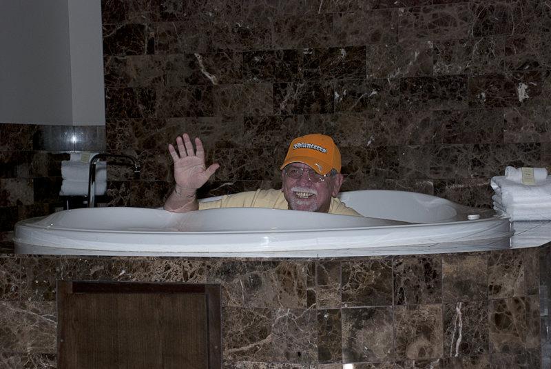 Randy enjoying the Spa Tub