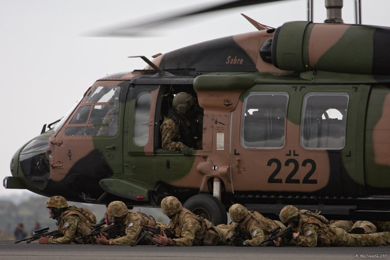 Australian Army Blackhawk (with RAAF personnel on the ground)
