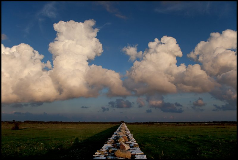 Heavy clouds over Ottenby and the wall of Karl X