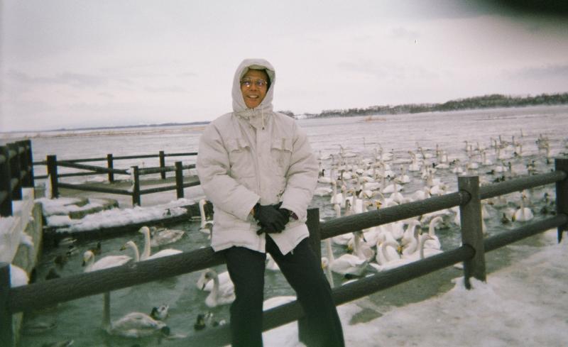 Mike at Swan Lake in Japanese Hokkaido