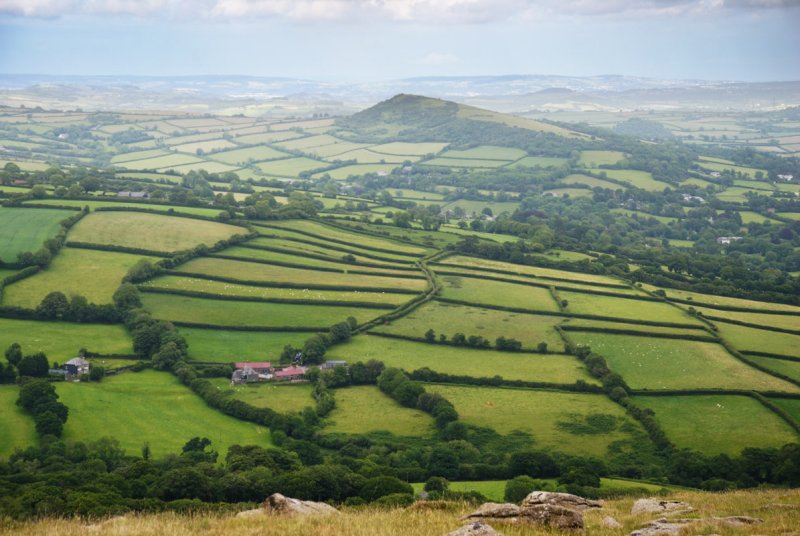 Brent Hill and field pattern from Ugborough Beacon