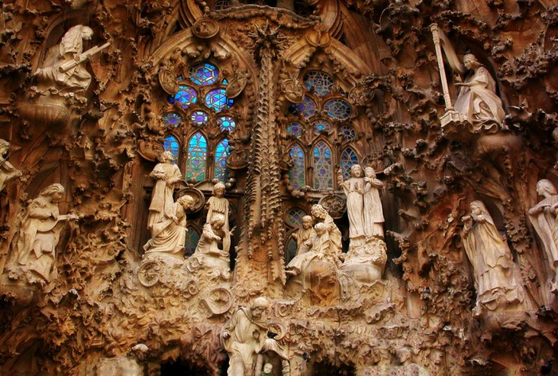 detail of Nativity facade of the Sagrada Familia