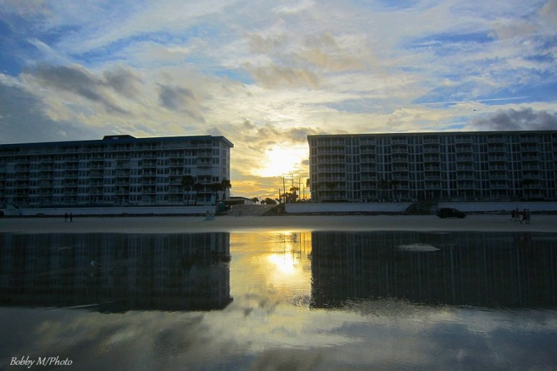 Sunset between buildings