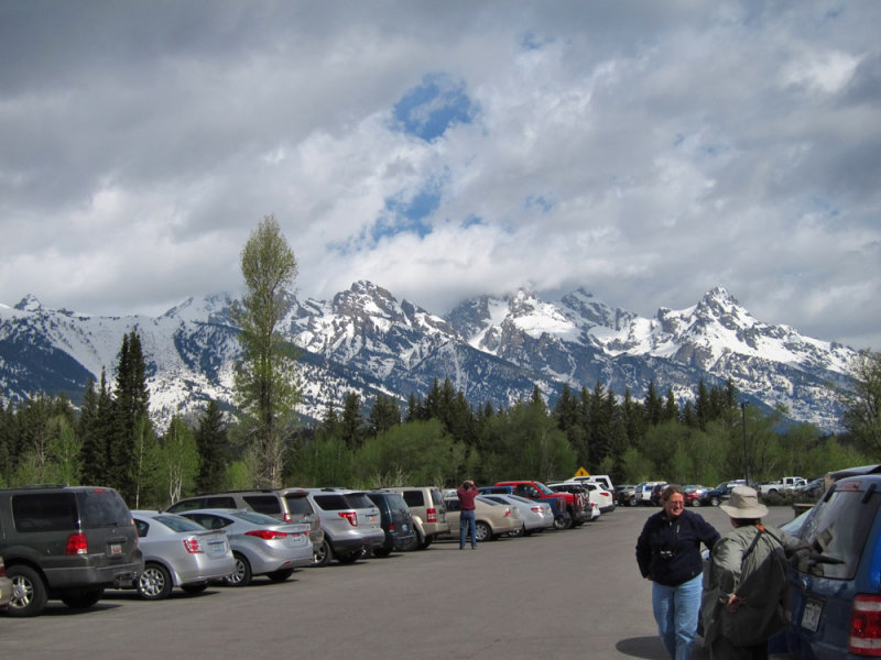 Tetons from visitor center parking lot of Grand Teton National Park, WY