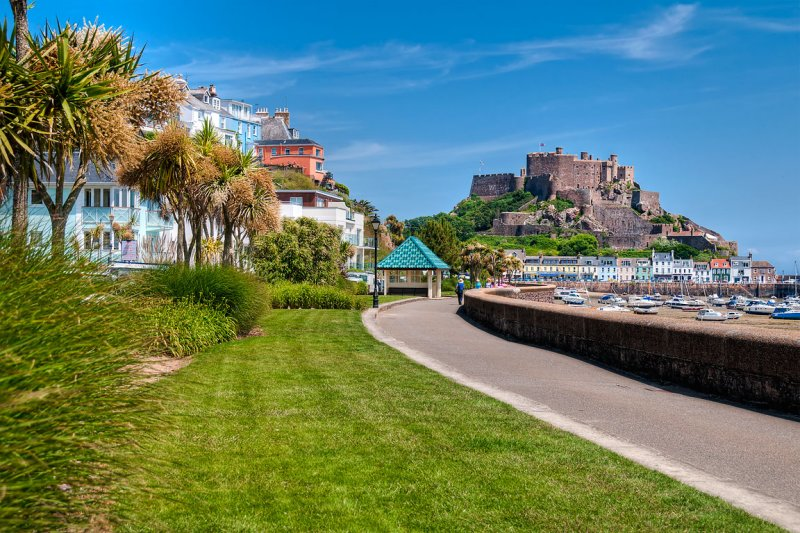 Palms and castle, Gorey, Jersey