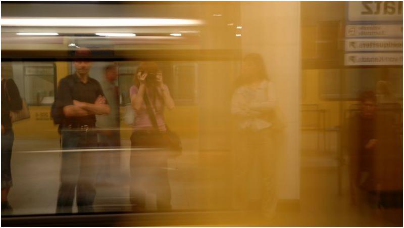 Subway train rushing by