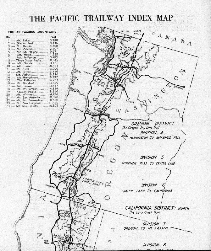 Washington And Oregon Map Of PCT Route 1945 photo - Monte Dodge ...