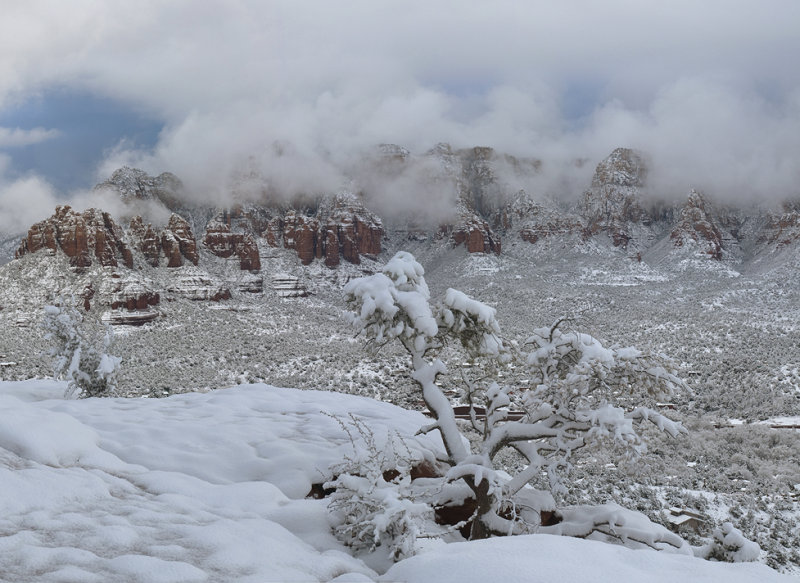 Snowy Sedona Buttes