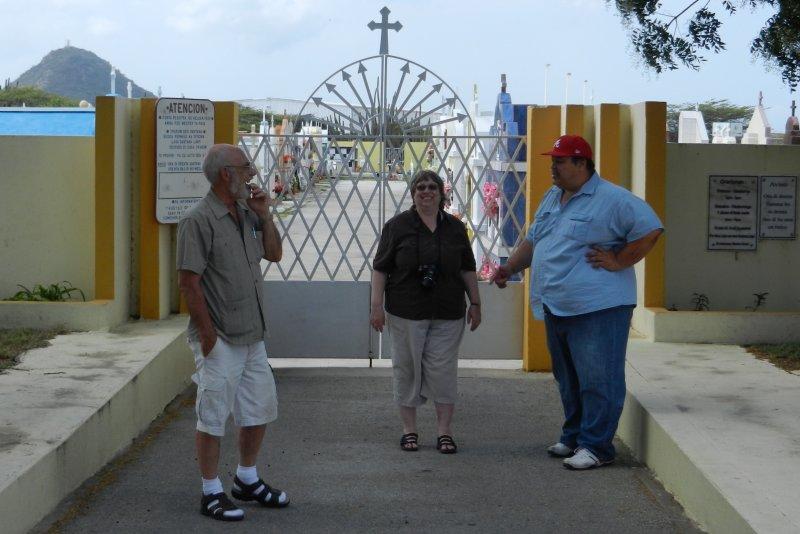 Bryan, Lynda & Bully (our guide) in front of Santana Pastoor Kraanwinkel Cemetery