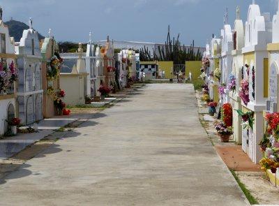 An above ground cemetery beside the church