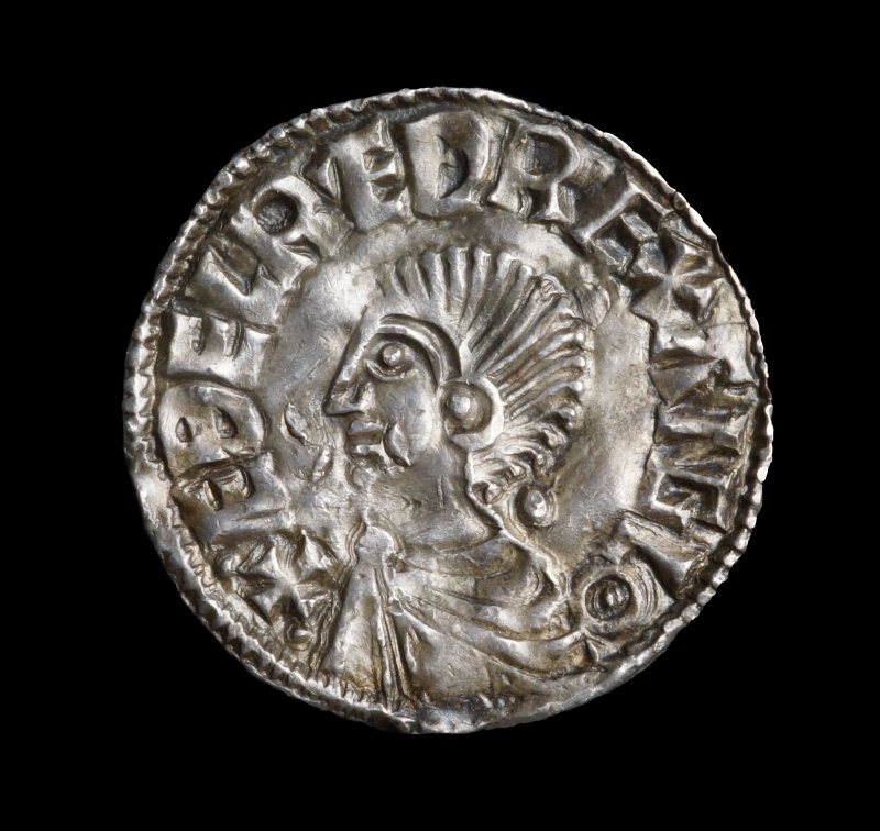 Silver penny of Aethelred II (978-1016), Long Cross type (c.997-c.1003), York, Hundulf. ÆÐELRED REX ANGLO, Viking peck marks.