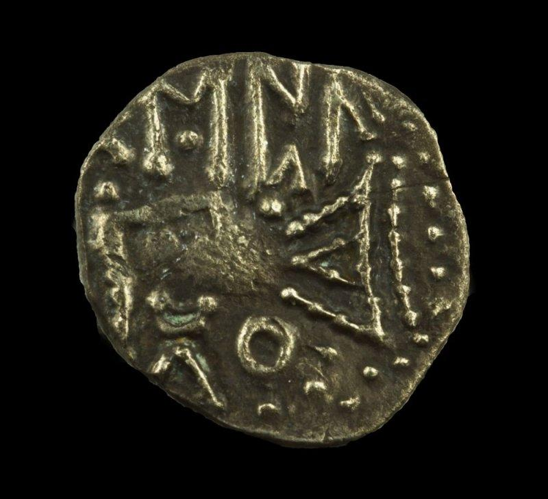 Runes EPA on Anglo-Saxon sceatta (Series C, Type C2), 680-710.