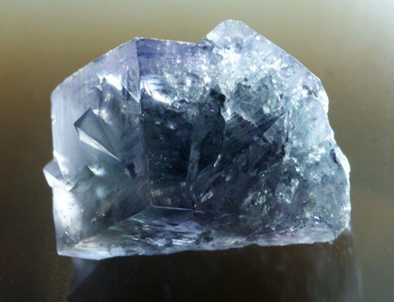 3 cm interpenetrant twin of purple fluorite from the Frazers Hush Mine, Weardale, County Durham.