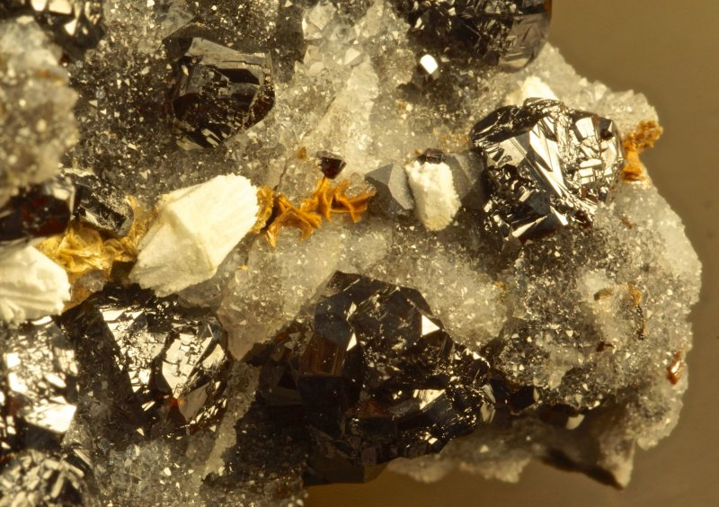 Sphalerite, galena, ankerite and barite pseudomorphs after alstonite (5 mm), Nentsberry Haggs Mine, Alston Moor, Cumbria.