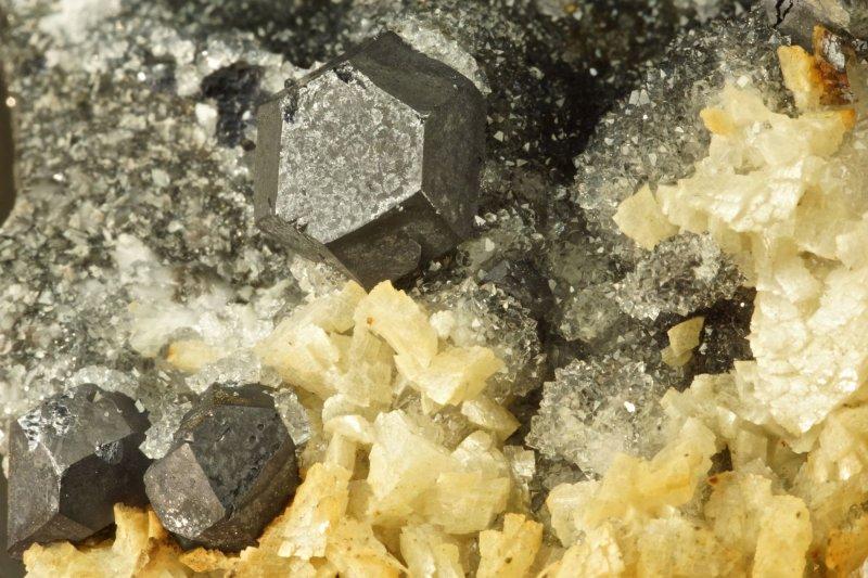 Galena cuboctahedra to 12mm with ankerite on drusy quartz. Smallcleugh Mine, Nenthead, Alston Moor.