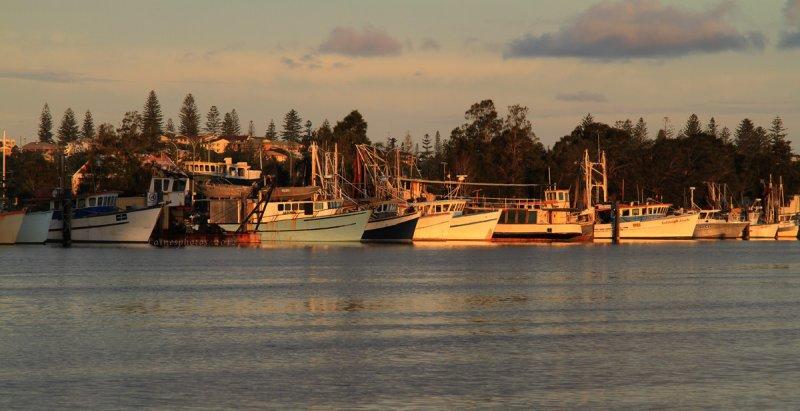 sunset on the boats Yamba