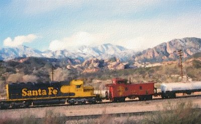 ATSF Eastbound with Caboose gets a little help!