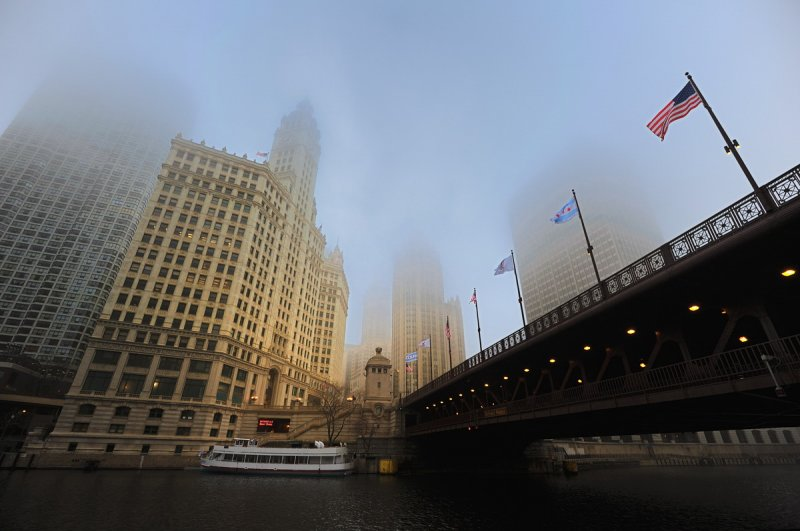 Foggy Wrigley Building and Du Sable Bridge