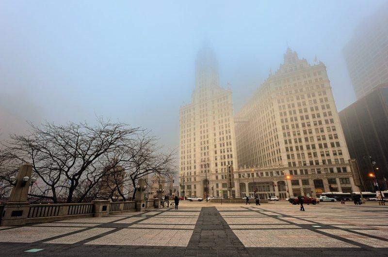 Wrigley Building in Fog