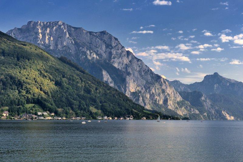 View of Traunstein from Gmunden
