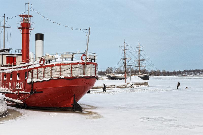 Lightship and Brig in Winter Harbor