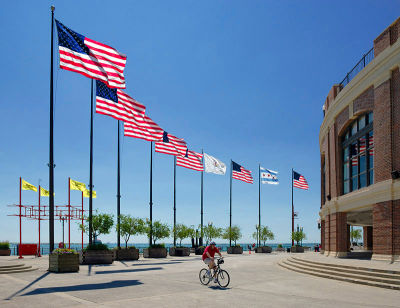 Flags at Navy Pier