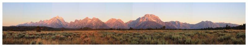 Grand Tetons at dawn - panorama
