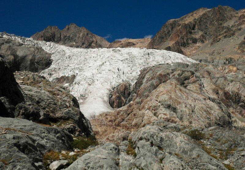reaching the glacier blanc